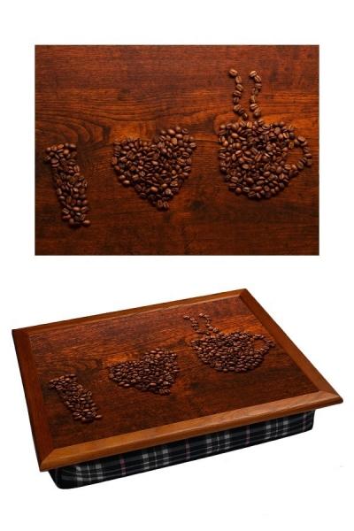 Фото - Поднос с подушкой Я люблю кофе купить в киеве на подарок, цена, отзывы