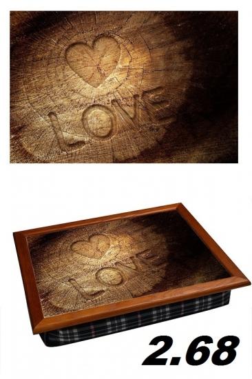 Фото - Поднос с подушкой деревянное сердце купить в киеве на подарок, цена, отзывы