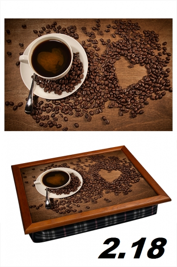 Фото - Поднос с подушкой кофе с утра купить в киеве на подарок, цена, отзывы