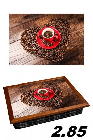 Фото - Поднос с подушкой любимый кофе в сердце купить в киеве на подарок, цена, отзывы