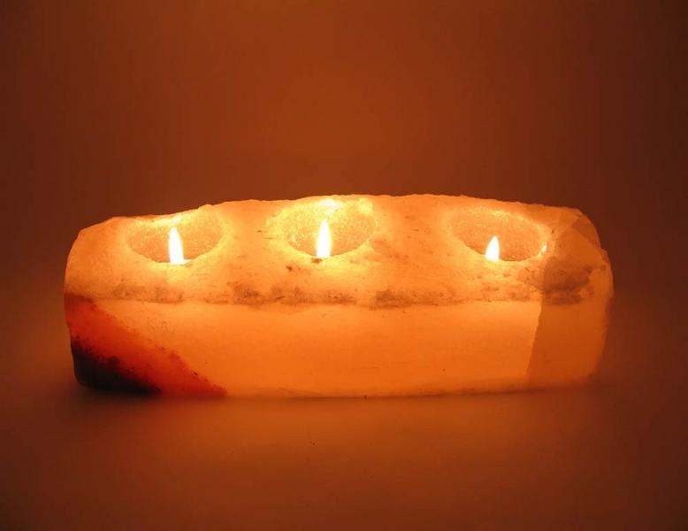 Фото - Подсвечник соляной тройной (22.5Х8Х6 см) купить в киеве на подарок, цена, отзывы