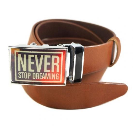 Фото - Ремень Не переставай мечтать коричневый купить в киеве на подарок, цена, отзывы