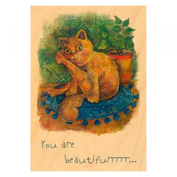 Фото - Деревянная открытка Рыжий кот купить в киеве на подарок, цена, отзывы