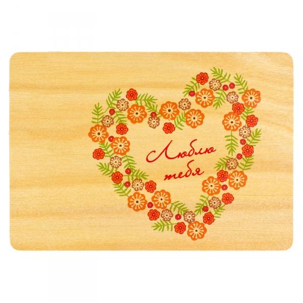 Фото - Деревяная открытка Сердце из цветов купить в киеве на подарок, цена, отзывы