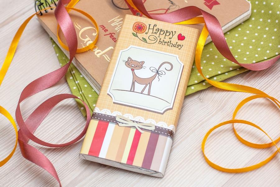 Фото - Шоколадная плитка Happy Birthday cat купить в киеве на подарок, цена, отзывы