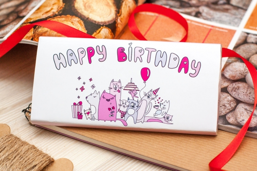 Фото - Шоколадная плитка Happy birthday от Cat купить в киеве на подарок, цена, отзывы