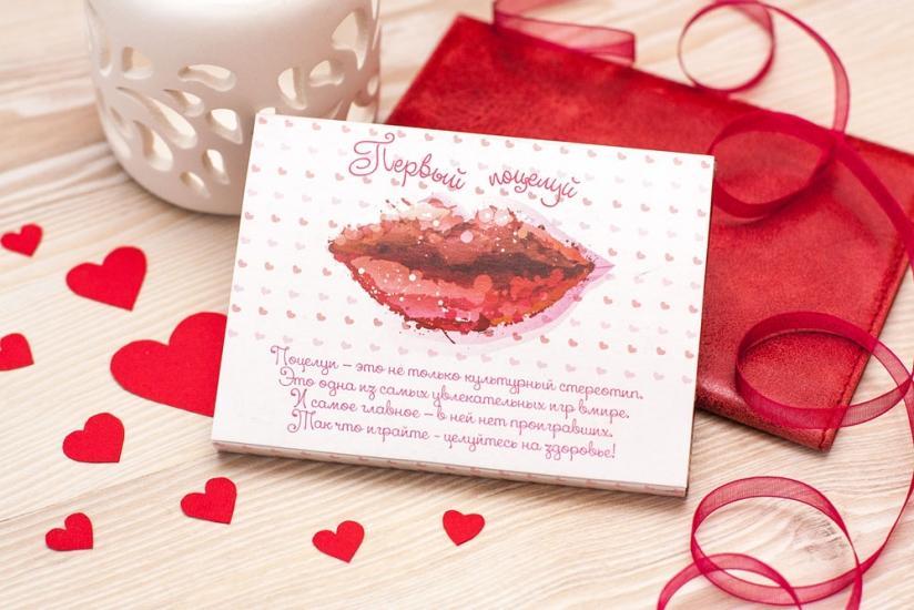 Фото - Шоколадная плитка Первый поцелуй купить в киеве на подарок, цена, отзывы