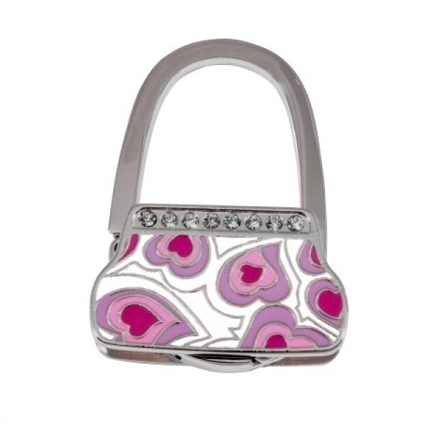 Фото - Сумкодержатель  сумочка фиолетовые сердечки купить в киеве на подарок, цена, отзывы