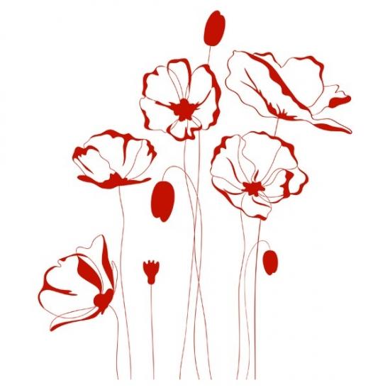 Фото - Виниловая Наклейка Red Flowers купить в киеве на подарок, цена, отзывы
