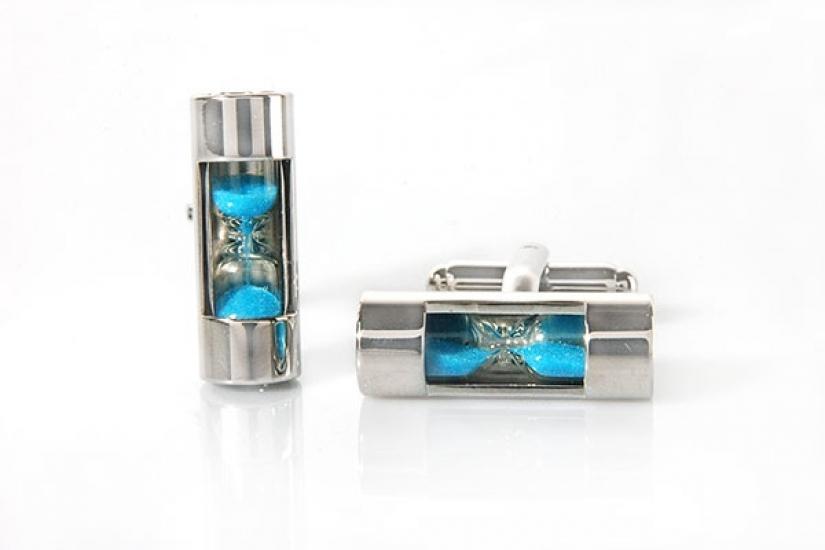 Фото - Запонки Песочные часы голубые купить в киеве на подарок, цена, отзывы