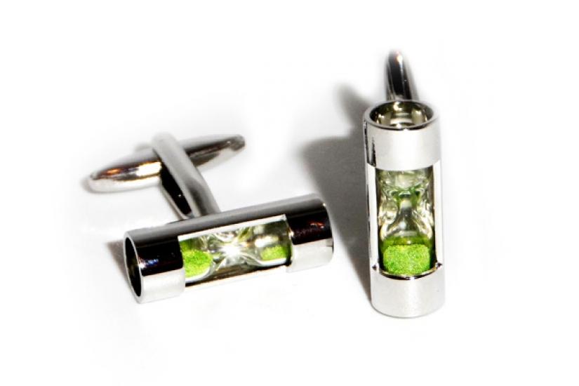 Фото - Запонки Песочные часы зеленые купить в киеве на подарок, цена, отзывы