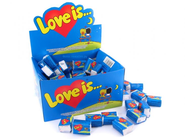 Фото - Жвачки Love is...Банан-Клубника 25 шт купить в киеве на подарок, цена, отзывы
