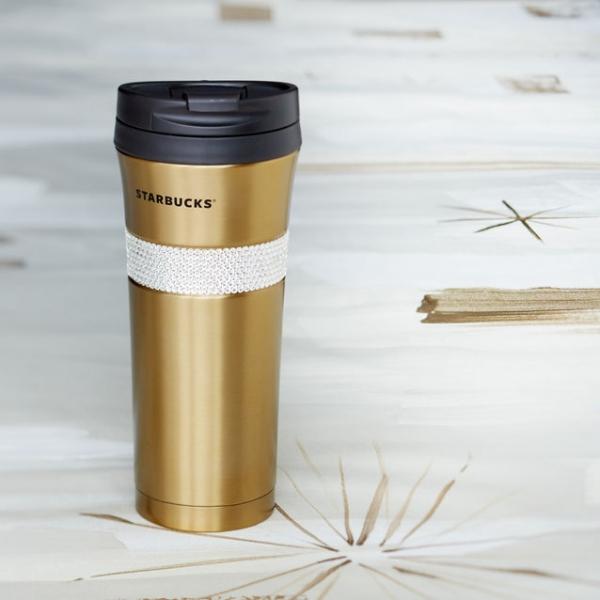 Фото - Золотая термокружка Starbucks с камнями Swarovski купить в киеве на подарок, цена, отзывы