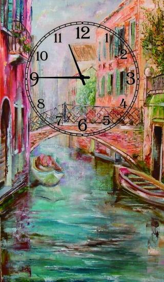 Фото - Часы на холсте Венеция 25х50 купить в киеве на подарок, цена, отзывы