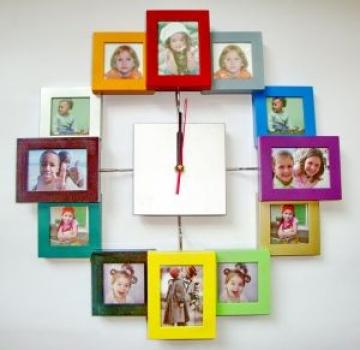 Фото - Часы большие квадратные 12 фоторамок купить в киеве на подарок, цена, отзывы