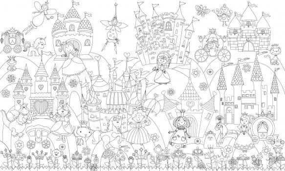 Фото - Обои раскраска - Принцессы и замок 1.0х0.6м купить в киеве на подарок, цена, отзывы