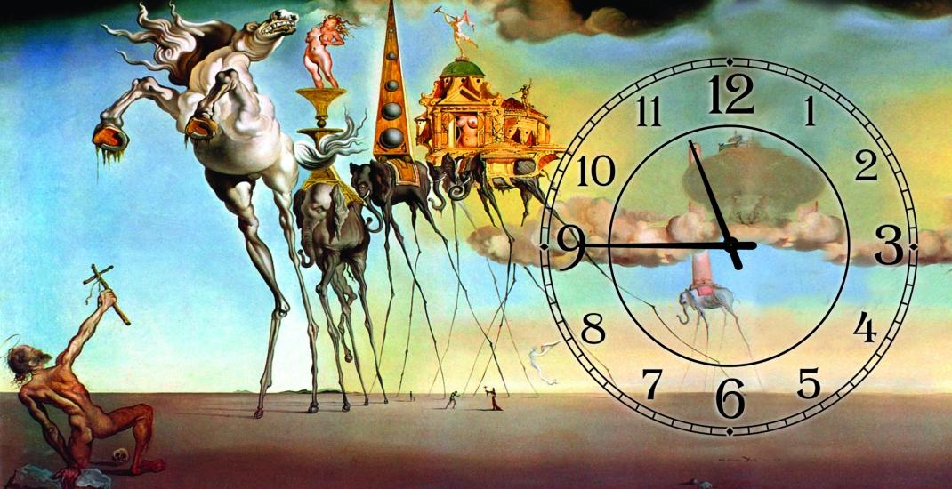 Фото - Часы на холсте Искушения святого Антония (Сальвадор Дали) 25х50 купить в киеве на подарок, цена, отзывы