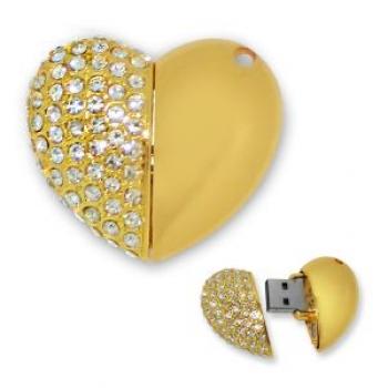 Фото - Флешка 8gb металл со стразами Сердце из двух половинок купить в киеве на подарок, цена, отзывы