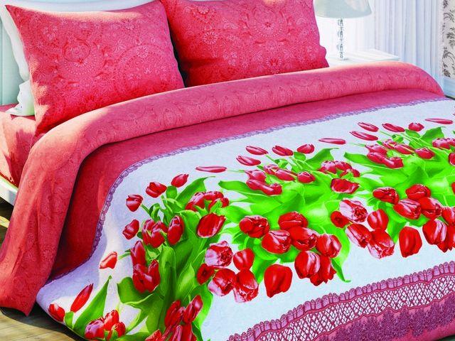 купить Постельное белье Солодкий сон, размер двуспальный евро, дизайн Красные тюльпаны  цена, отзывы