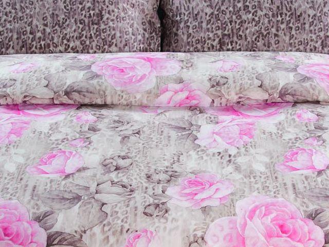 купить  Постельное белье Зоряне сяйво, двуспальный евро, дизайн Дикие розы цена, отзывы