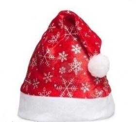 купить Шапка Деда Мороза со снежинками цена, отзывы