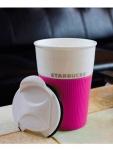 купить Керамическая чашка с крышкой розовая VIA. STARBUCKS цена, отзывы