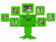 купить Часы настенные семейное дерево на 7 фото зеленые цена, отзывы