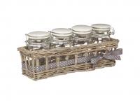 купить HM Баночки стеклянные для хранения 230мл 4 единицы с керамическими крышками и корзинкой из ивы цена, отзывы