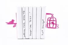 купить Держатель для книг Клетка с птицами темно-розовая цена, отзывы
