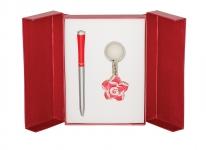купить Подарочный набор ручка и брелок Сапфо красный цена, отзывы