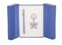 купить Подарочный набор ручка и брелок Мелита фиолетовый цена, отзывы