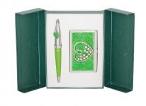 купить Подарочный набор ручка и визитница Минта зеленый цена, отзывы