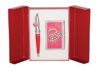 купить Подарочный набор ручка и визитница Минта красный цена, отзывы