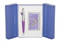 купить Подарочный набор ручка и визитница Минта фиолетовый цена, отзывы