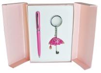 купить Подарочный набор ручка и брелок Эйрин розовый цена, отзывы