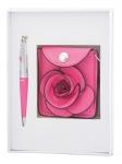 купить Подарочный набор ручка, кошелек для монет и зеркало Ксения розовый цена, отзывы