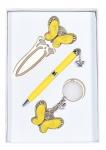 купить Подарочный набор ручка, брелок и закладка Кассандра желтый цена, отзывы