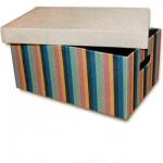 купить Короб с крышкой Мульти полоски 32х22х14,5 см цена, отзывы