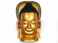 купить Этническая маска Будда 36 см золото цена, отзывы