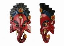 купить Этническая маска Ганеша 25 см красная цена, отзывы