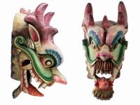 купить Этническая маска Дракон Раджа красный гребень 70 см широкая цена, отзывы