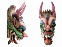 купить Этническая маска Дракон Раджа синий гребень 70 см узкая цена, отзывы