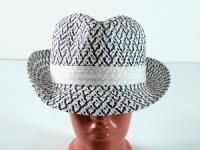 купить Соломенная шляпа Бевьер 28 см бело-синяя  цена, отзывы