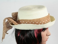 купить Соломенная шляпа Котелок c полями 26 см белая  цена, отзывы
