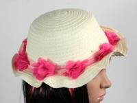 купить Соломенная шляпа детская Флюе 26 см бело-розовая цена, отзывы