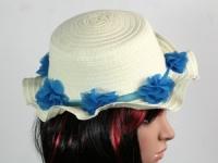 купить Соломенная шляпа детская Флюе 26 см бело-синяя цена, отзывы