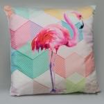 купить Декоративная наволочка Геометрический фламинго 45х45 см цена, отзывы