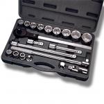 купить Профессиональный набор инструмента 3-4 дюйма, 20 ед (гол. 19-50 мм) пластиковый кейс INTERTOOL ET-6023 цена, отзывы