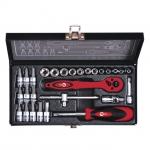 купить Набор инструмента 1-4 дюйма 28 ед (гол. 4-13 мм, биты 11 ед.) INTERTOOL ET-6028 цена, отзывы