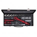 купить Профессиональный набор инструмента 1-2 дюйма и 1-4 дюйма, 56 ед (гол. 4-32 мм, биты 18 ед.) INTERTOOL ET-6056 цена, отзывы